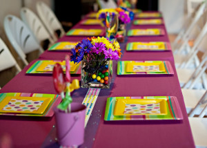 Birthday table with candy button runner and candy centerpieces