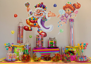 Candy Land candy bar with wall decals