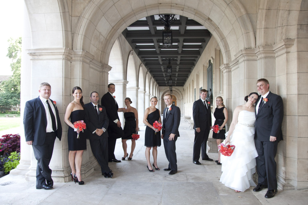 Stephanie + Dan: Bright Coral and Black   Events Luxe